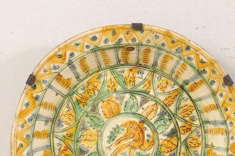 Pair of 18th Century Spanish Majolica Platters, Bird & Leaf Motif in Jewel Tones In Good Condition For Sale In Atlanta, GA