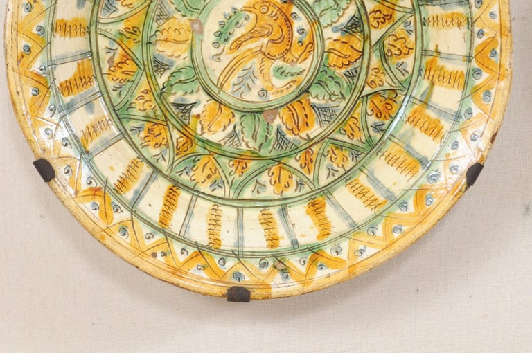 18th Century and Earlier Pair of 18th Century Spanish Majolica Platters, Bird & Leaf Motif in Jewel Tones For Sale