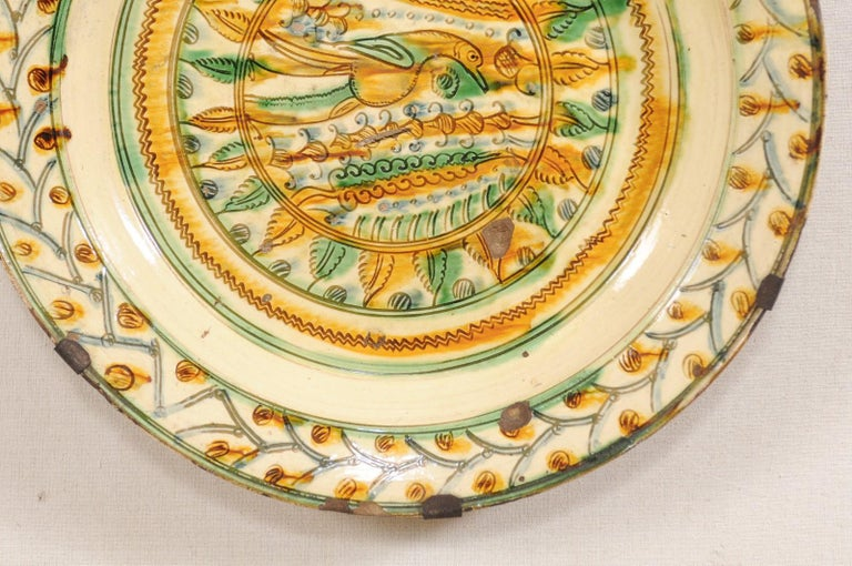 Pair of 18th Century Spanish Majolica Platters, Bird & Leaf Motif in Jewel Tones For Sale 2