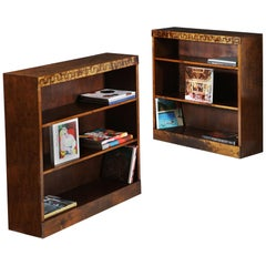 Pair of 1920s Tiger Maple Swedish Grace Bookcases with Greek Key to the Frieze