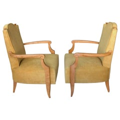 Pair of 1940's French Neoclassical Sycamore and Gold Yellow Velvet Armchairs