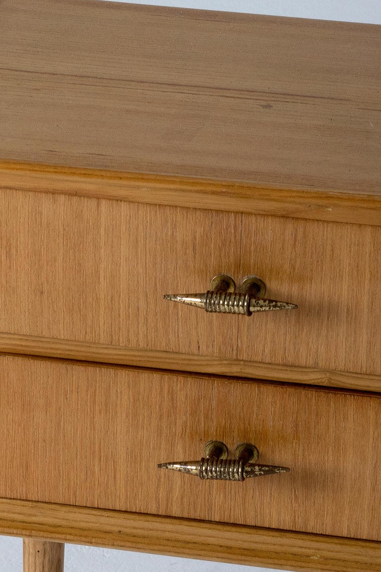 Brass Pair of 1940s Oak Bedside Tables For Sale