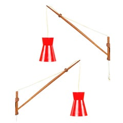 a Pair of 1950s Finnish Teak Arm Wall Lamps by Lisa Johansson-Pape for Orno