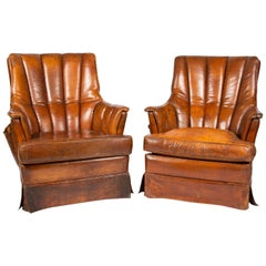 Pair of 1950s French Leather Club Chairs