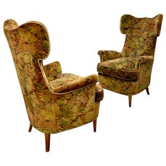 Pair of Mid-Century High Back Italian Armchairs in Original Condition