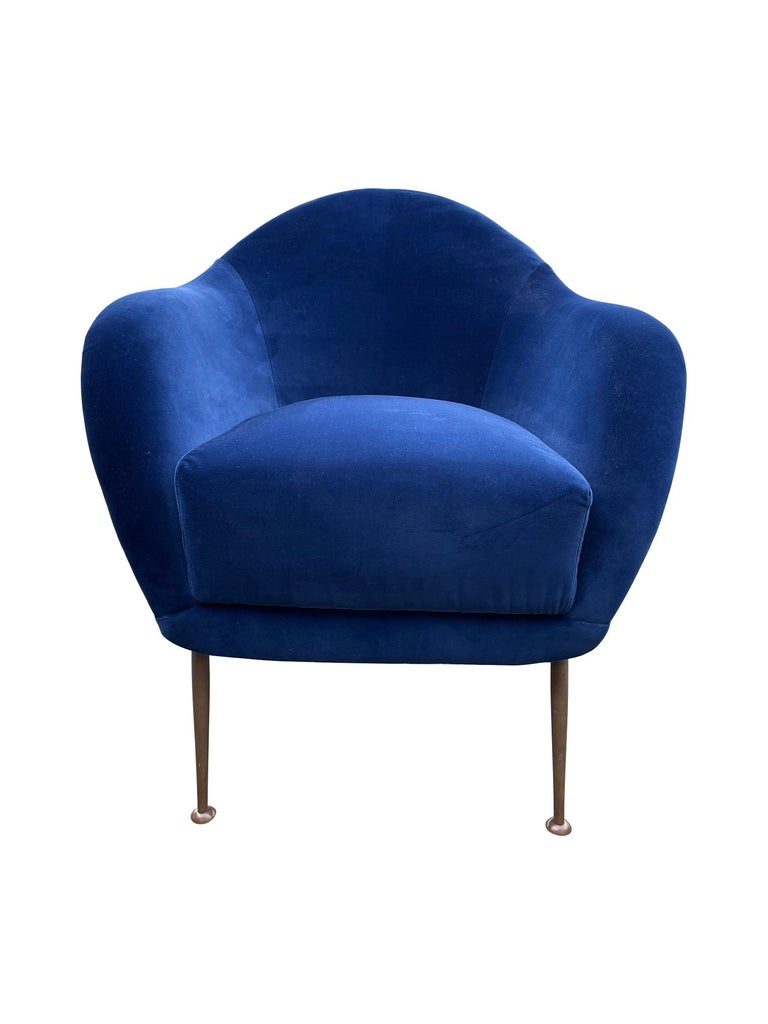 Pair of 1950s Italian Armchairs with Matching Ottomans Reupholstered in Velvet For Sale 12