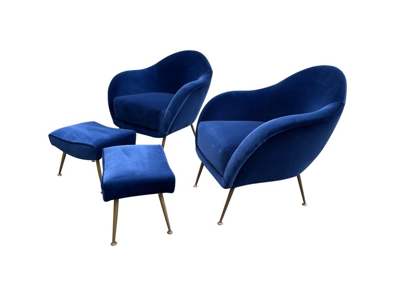 Mid-20th Century Pair of 1950s Italian Armchairs with Matching Ottomans Reupholstered in Velvet For Sale