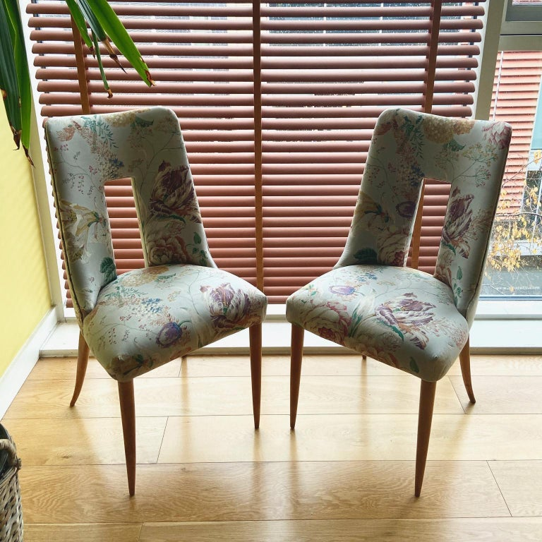 Rare and unusual 1950s vintage Italian side chairs, a midcentury pair upholstered in a flowery pastel grey blue fabric.