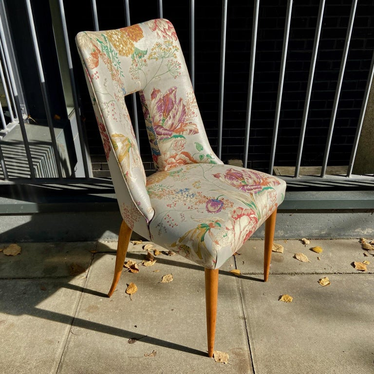 Pair of 1950s Italian Side Chairs, in Flowery Pastel Blue Upholstery In Fair Condition For Sale In London, GB