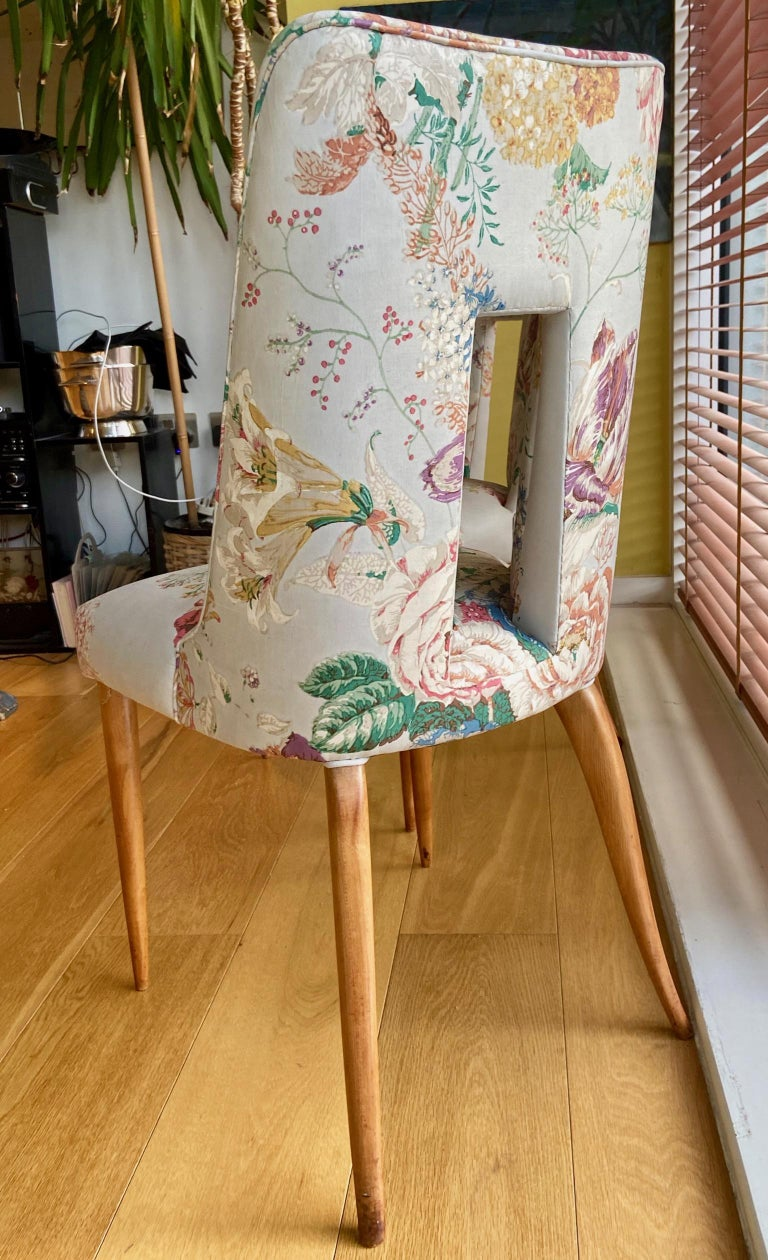 Pair of 1950s Italian Side Chairs, in Flowery Pastel Blue Upholstery For Sale 1