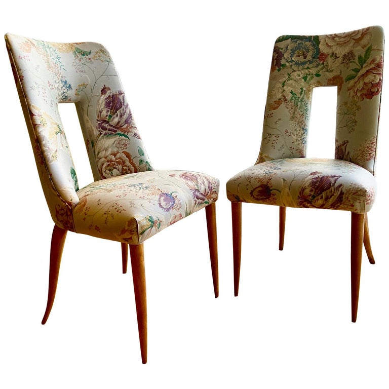 Pair of 1950s Italian Side Chairs, in Flowery Pastel Blue Upholstery For Sale