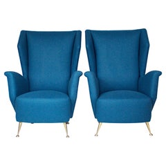 Pair of 1950s Italian Wing Chairs