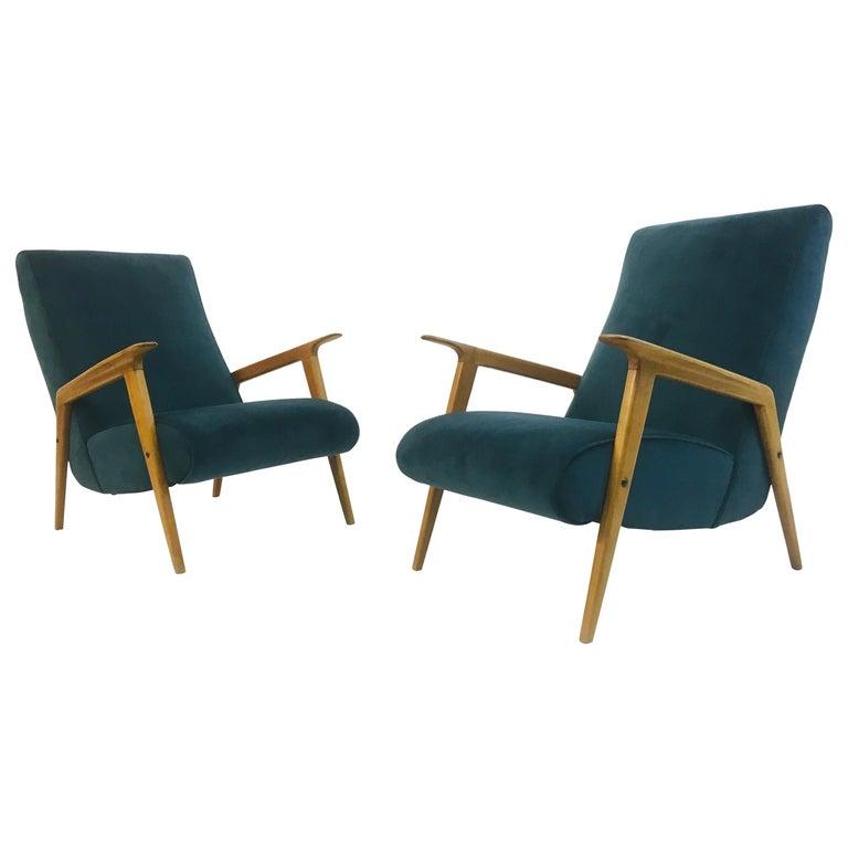 Pair of 1950s Midcentury Italian Armchairs in Teal Velvet For Sale