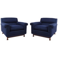 Pair of 1960s Italian Modernist Armchairs Attributed to Marco Zanuso