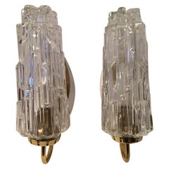 Pair of 1960s White Brass Textured Glass Sconces from Germany