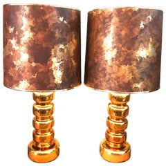 A Pair Of 1970s Gilded Glass Table Lamps
