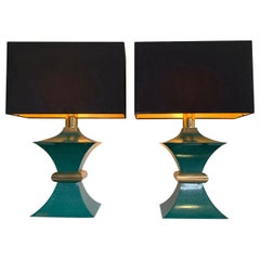 Pair of 1970s Romeo Rega Interestingly Shaped Metal Lamps with Turquoise Bases