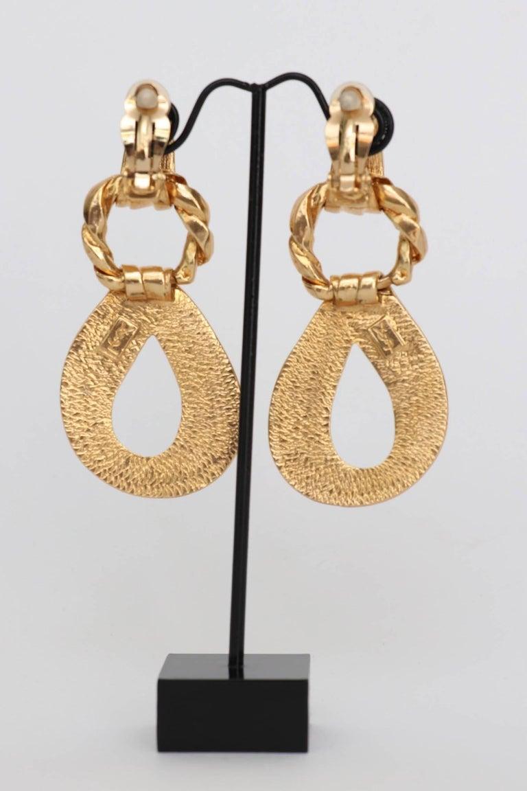 Women's or Men's Yves Saint Laurent Gold Plated Clip On Earrings, 1980s  For Sale