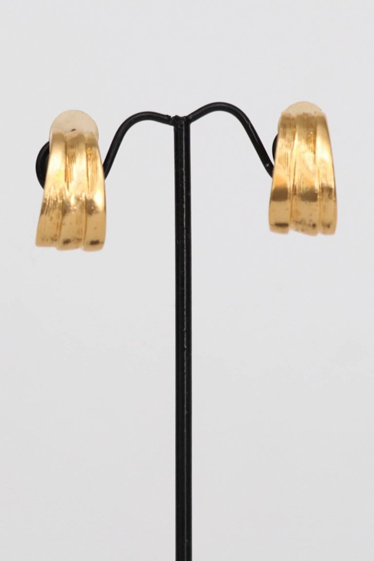 Yves Saint Laurent Gold Plated Clip On Earrings, 1980s  For Sale 2
