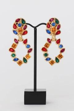 A Pair Of 1980s Yves Saint Laurent Rhinestone Clip On Earrings