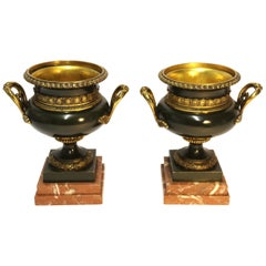 Pair of 19th Century French Bronze and Gilt Urns with Marble Bases