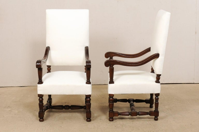 Pair of Italian Carved-Wood Armchairs with Newly Upholstered Seat and Back For Sale 5