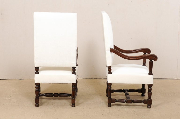 Pair of Italian Carved-Wood Armchairs with Newly Upholstered Seat and Back For Sale 6