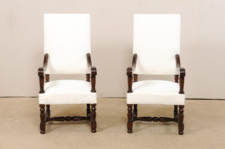 Pair of Italian Carved-Wood Armchairs with Newly Upholstered Seat and Back In Good Condition For Sale In Atlanta, GA