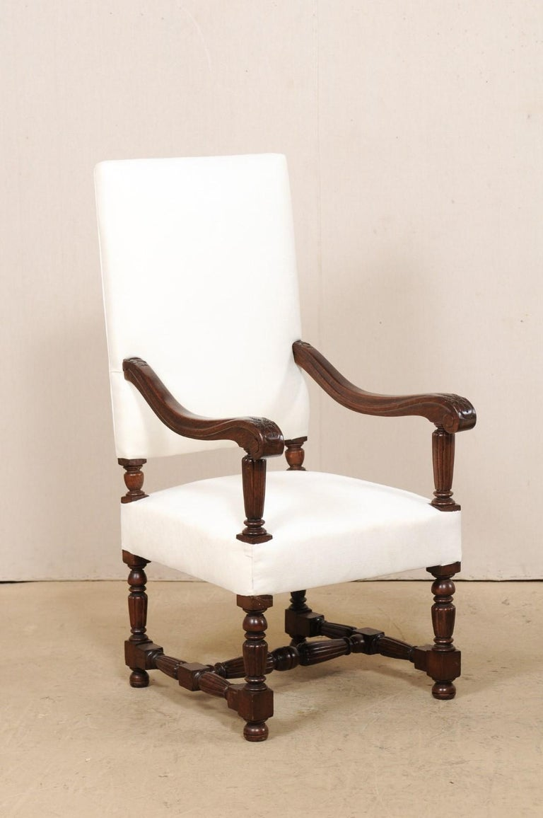 19th Century Pair of Italian Carved-Wood Armchairs with Newly Upholstered Seat and Back For Sale