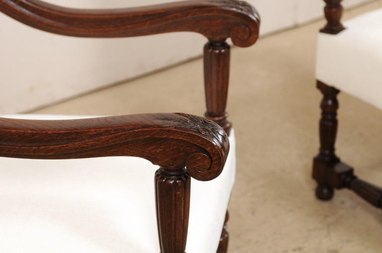 Upholstery Pair of Italian Carved-Wood Armchairs with Newly Upholstered Seat and Back For Sale