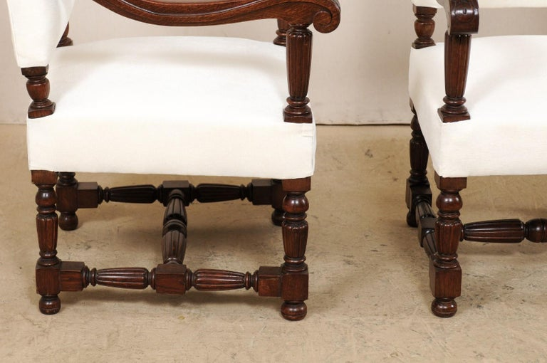 Pair of Italian Carved-Wood Armchairs with Newly Upholstered Seat and Back For Sale 3