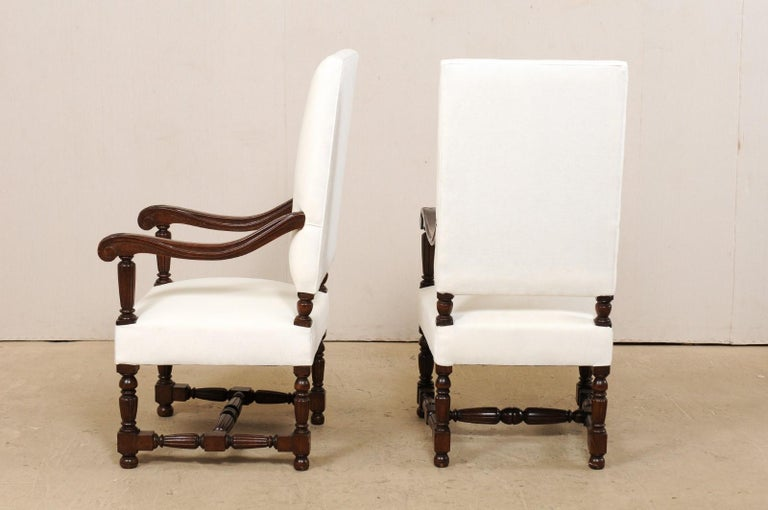 Pair of Italian Carved-Wood Armchairs with Newly Upholstered Seat and Back For Sale 4