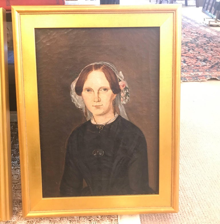 Early Victorian Pair of 19th Century American Portraits For Sale