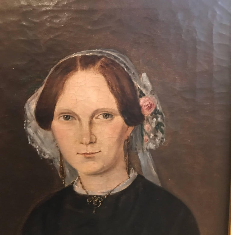 Mid-19th Century Pair of 19th Century American Portraits For Sale