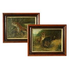 Pair of 19th Century Big Game Paintings