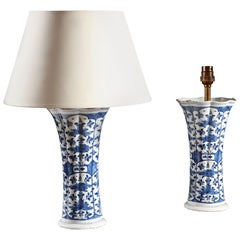 Pair of 19th Century Blue and White Delft Ceramic Vases as Table Lamps