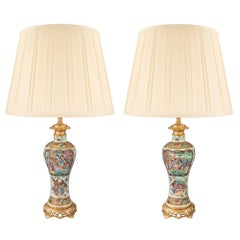 Pair of 19th Century Chinese Porcelain with French Louis XVI Ormolu Mounts