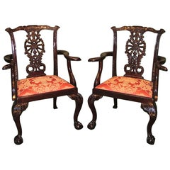Pair of 19th Century Chippendale Mahogany Armchairs