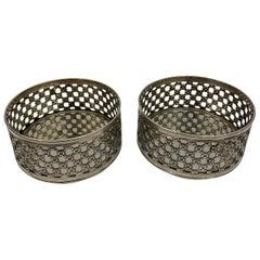 Pair of 19th Century English Pierced Silver Wine Coasters