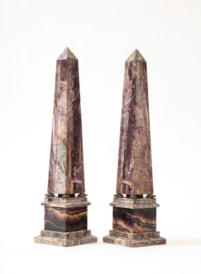 Louis XVI Pair of 19th Century English Turtle-Form Ormolu Mnt. Blue John Obelisks For Sale