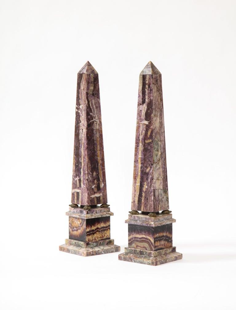 Gilt Pair of 19th Century English Turtle-Form Ormolu Mnt. Blue John Obelisks For Sale