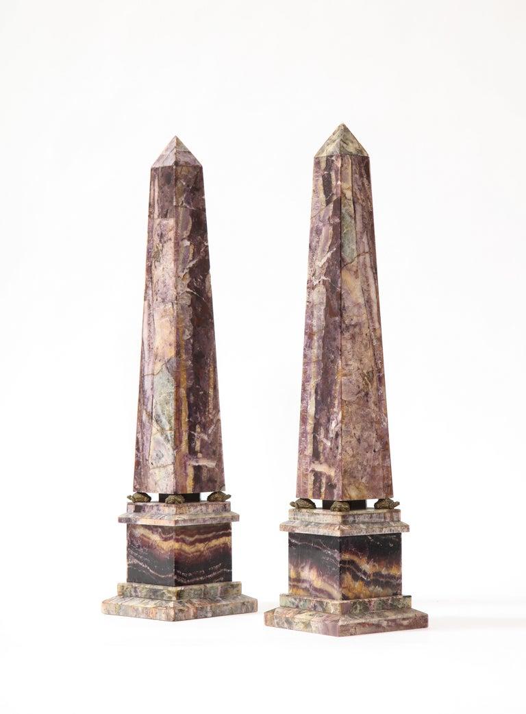 Bronze Pair of 19th Century English Turtle-Form Ormolu Mnt. Blue John Obelisks For Sale