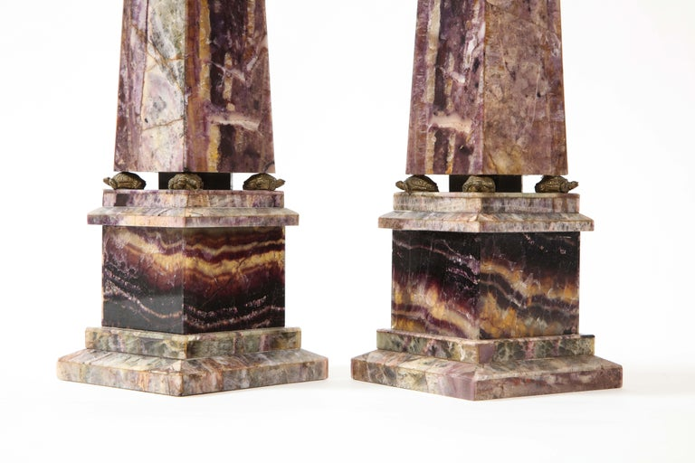 Pair of 19th Century English Turtle-Form Ormolu Mnt. Blue John Obelisks For Sale 1