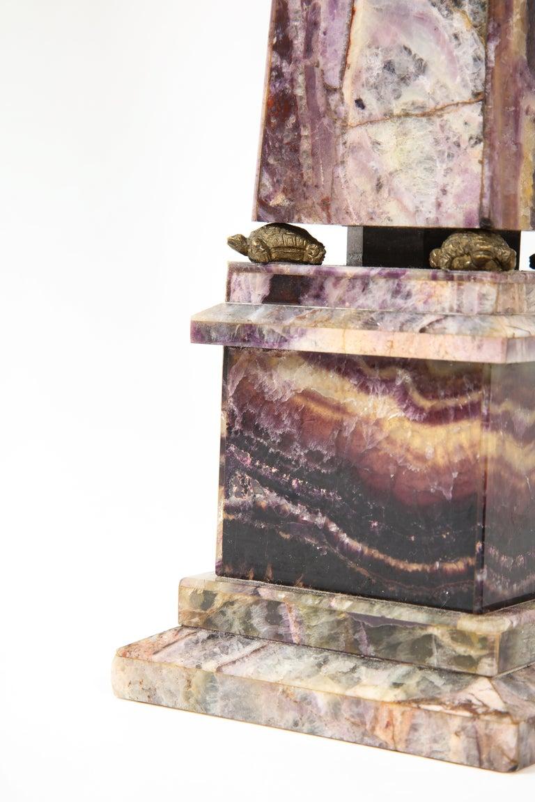 Pair of 19th Century English Turtle-Form Ormolu Mnt. Blue John Obelisks For Sale 2