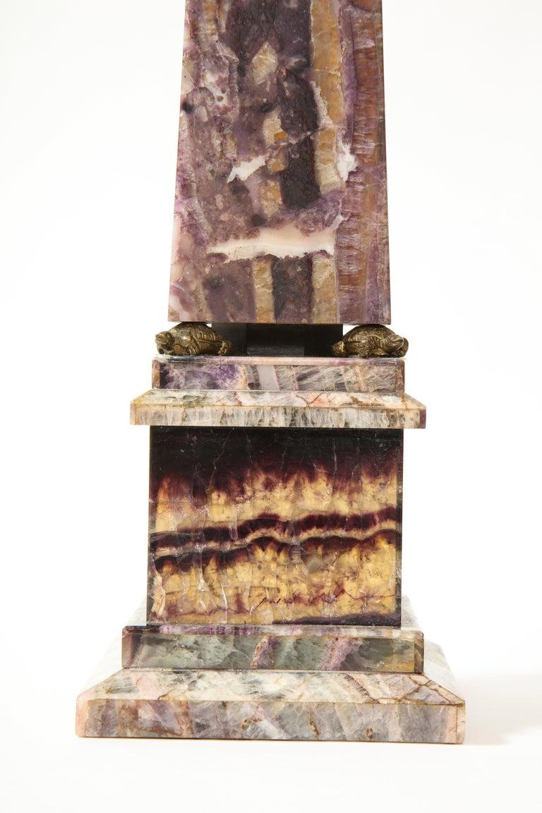 Pair of 19th Century English Turtle-Form Ormolu Mnt. Blue John Obelisks For Sale 3
