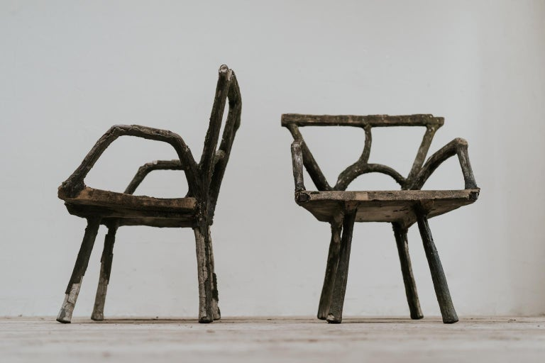 Pair of 19th Century Faux Bois Armchairs For Sale 5