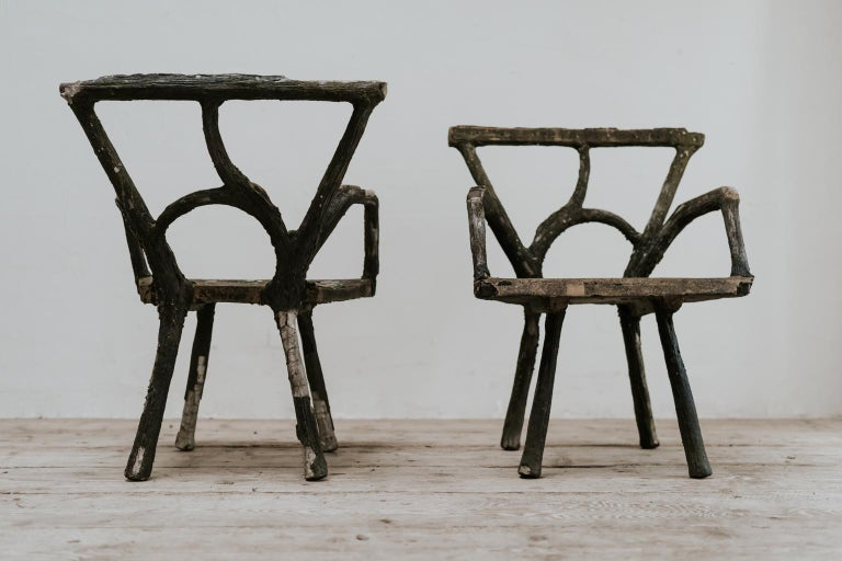 Pair of 19th Century Faux Bois Armchairs For Sale 11