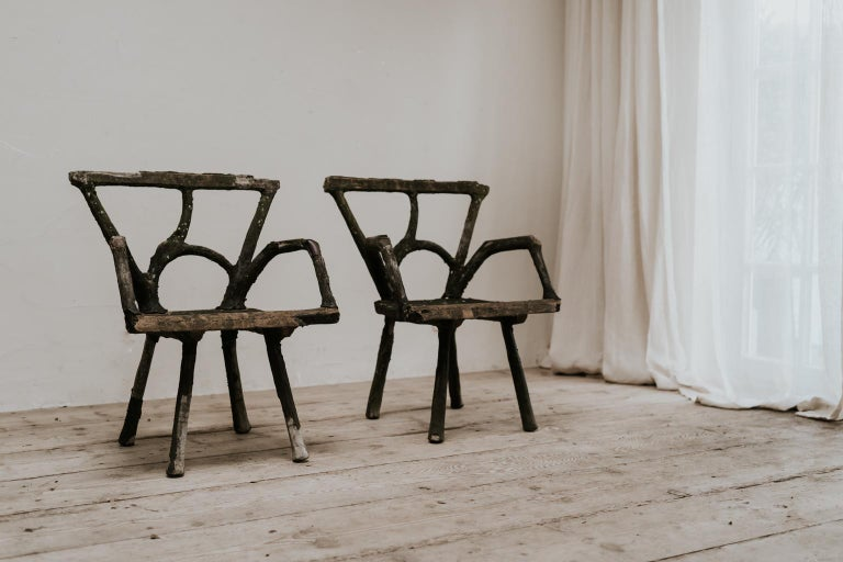 French Pair of 19th Century Faux Bois Armchairs For Sale