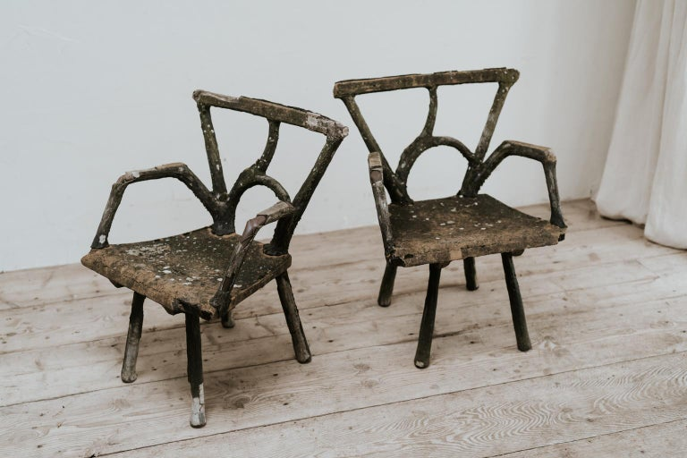 Pair of 19th Century Faux Bois Armchairs In Good Condition For Sale In Brecht, BE