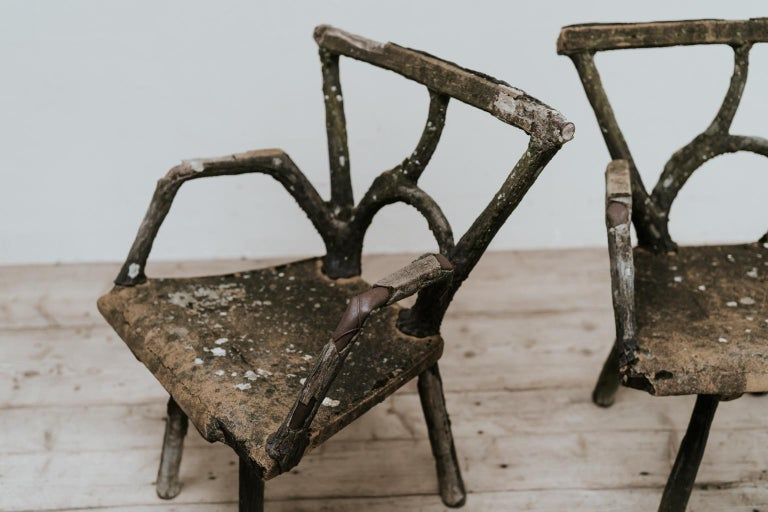 Iron Pair of 19th Century Faux Bois Armchairs For Sale